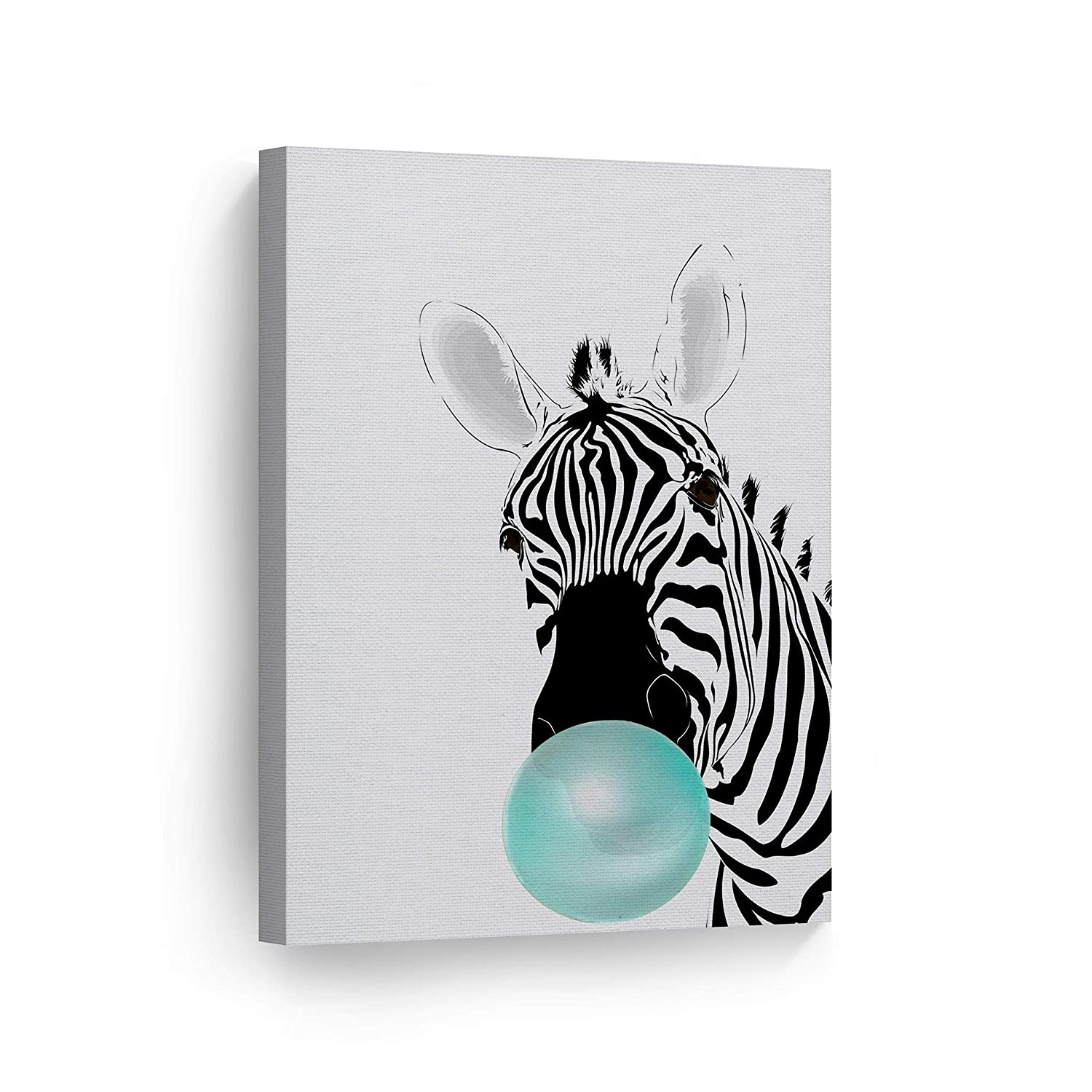 Zebra Animal Bubble Gum Art Teal Blue Chewing Gum Canvas Print Black and White Wall Art Home Decoration Pop Art Living Room Kids Room Decor Nursery Ready to Hang-%100 Handmade in USA - 12x8
