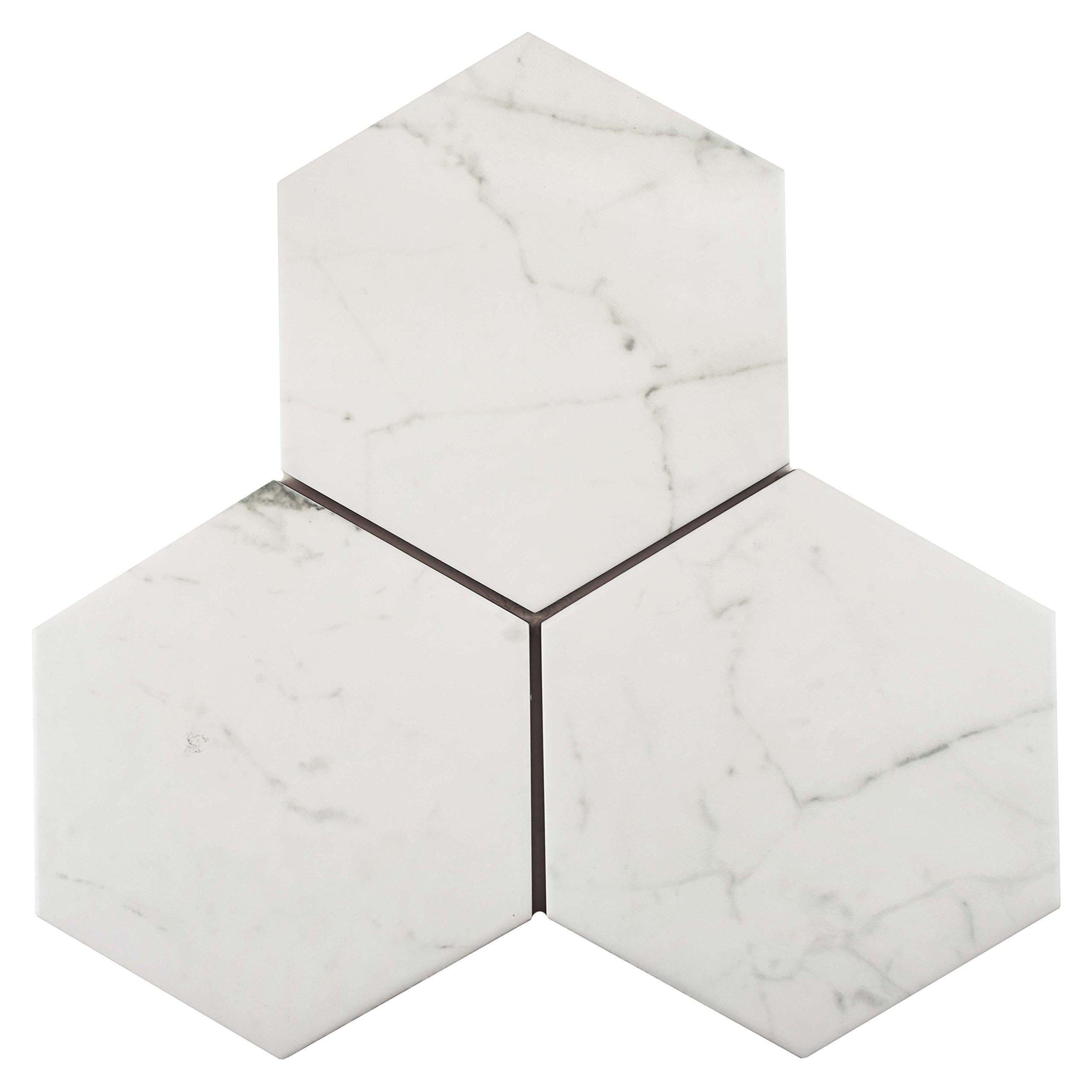 SomerTile FEQCRX Murmur Carrara Hexagon Porcelain Floor & Wall Tile, 7'' x 8'' (Pack of 25) by SOMERTILE (Image #11)