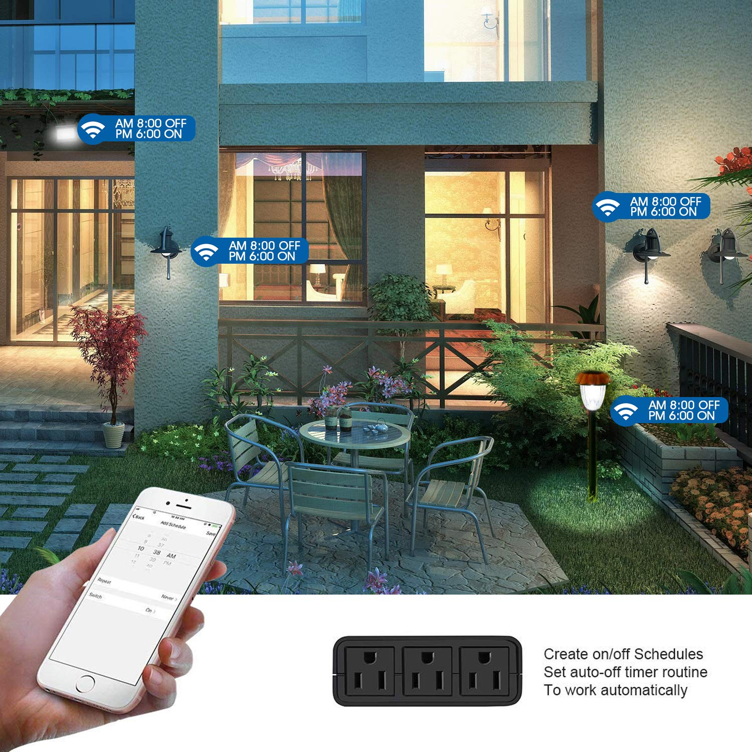IP44 Waterproof Compatible with Alexa Google Home WiFi Outlet with 3 Sockets Wireless Remote Control Timer /& Countdown by Smartphone APP VAVOFO Outdoor Smart Plug