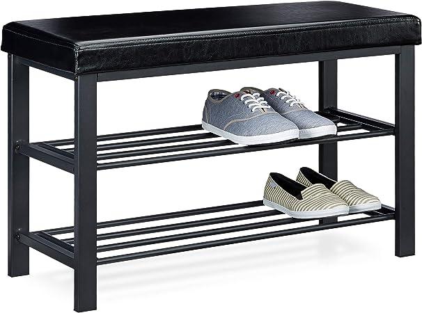 Relaxdays Banc de rangement à chaussures H xlx P 49 x 81 x 31 cm meuble avec assise tabouret en similicuir meuble 2 niveaux pour 6 8 paires par