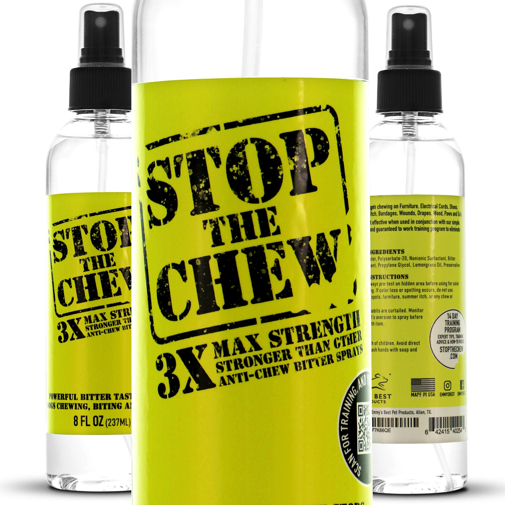 Emmy's Best Stop The Chew 3X Strength Anti Chew Bitter Spray Deterrent for Dogs & Puppies - Alcohol Free - Most Powerful Bitter Deterrent - 8oz by Emmy's Best