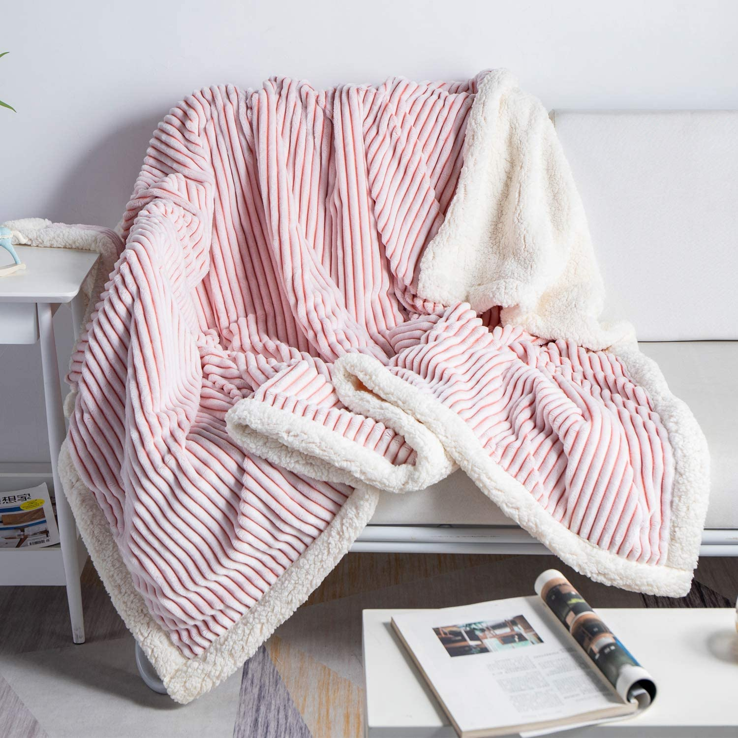 Soft Blanket Plush Fluffy Blanket Warm Cozy with Pink and White Strip Perfect Throw for All Seasons Throw for Couch Bed Sofa (Pink