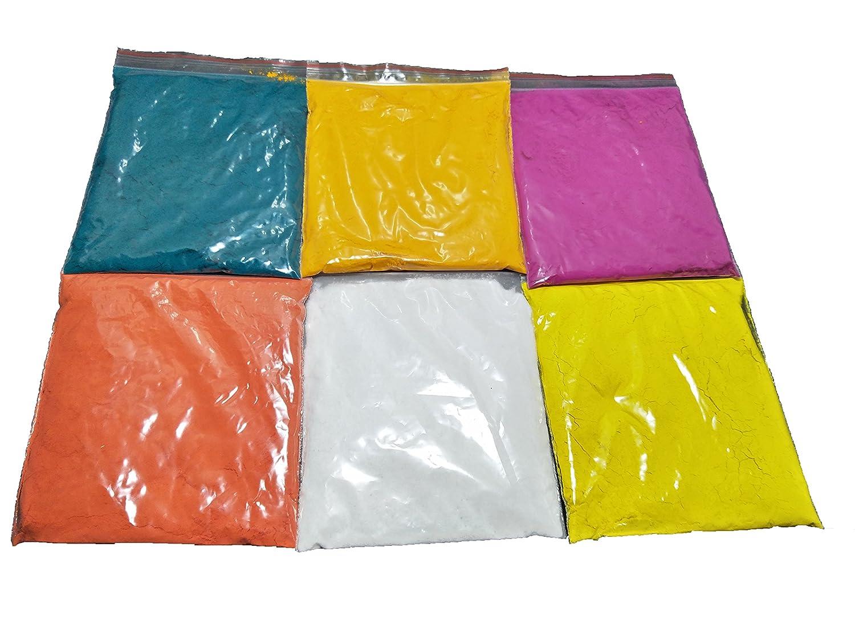 G&D Rangoli Colors,Rangoli Powder,Design Creativity Diwali Floor Design, Festival Colors(Set of 6 Colors 50 gm each packs White color 100 gm pack) GD