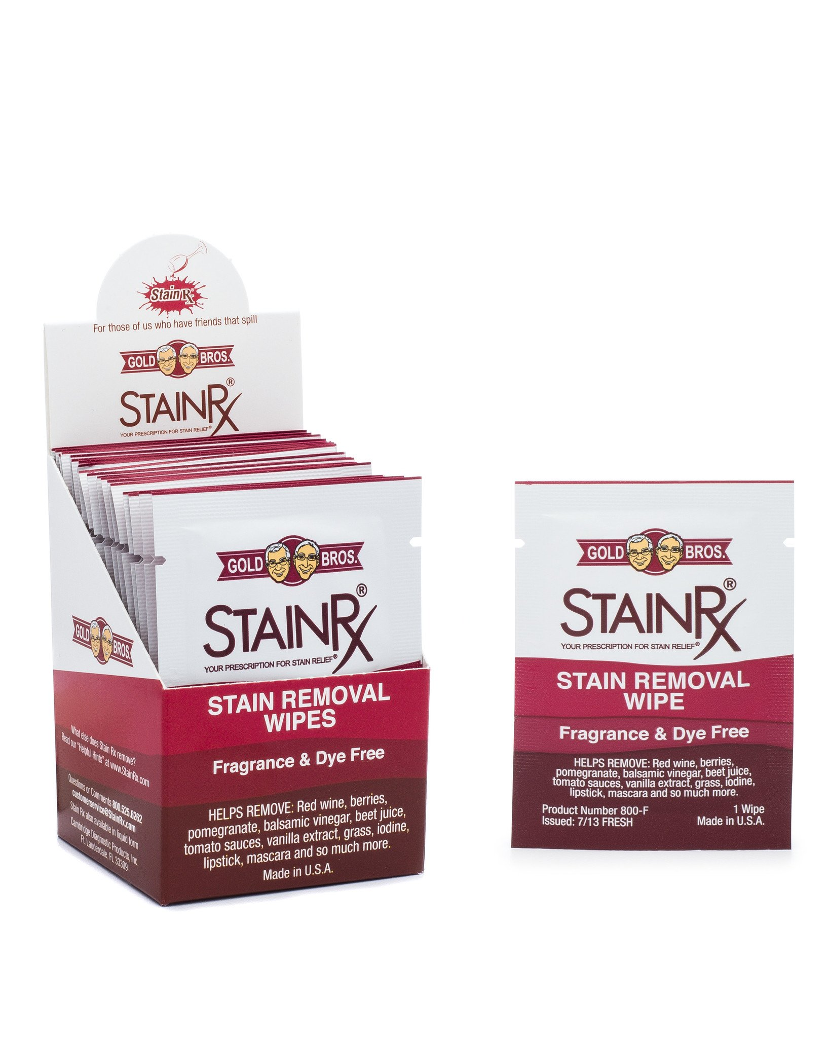 Stain Rx Wipes - Portable Stain Eliminator & Spot Remover Wipes, Individually Packaged Towelettes