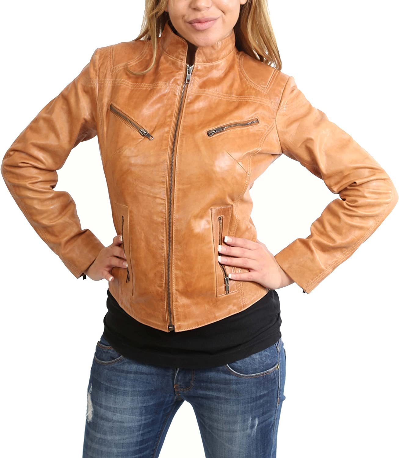 Ladies Real Leather Biker Style Standing Collar Casual Jacket Becky Tan