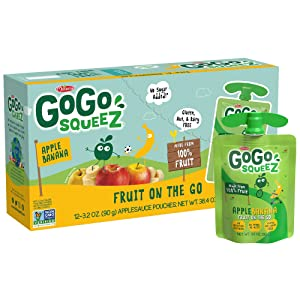 GoGo squeeZ Fruit on the Go, Apple Banana, 3.2 oz. (72 Pouches) - Tasty Kids Applesauce Snacks Made from Apples & Bananas - Gluten Free Snacks for Kids - Nut & Dairy Free - Vegan Snacks