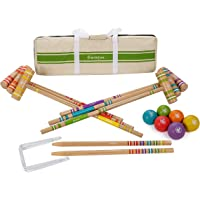 Balls Wickets Patioline Premium 6- Player Croquet Set for Adults and Kids Family Fun with Mallets and Carrying Case Stake Posts