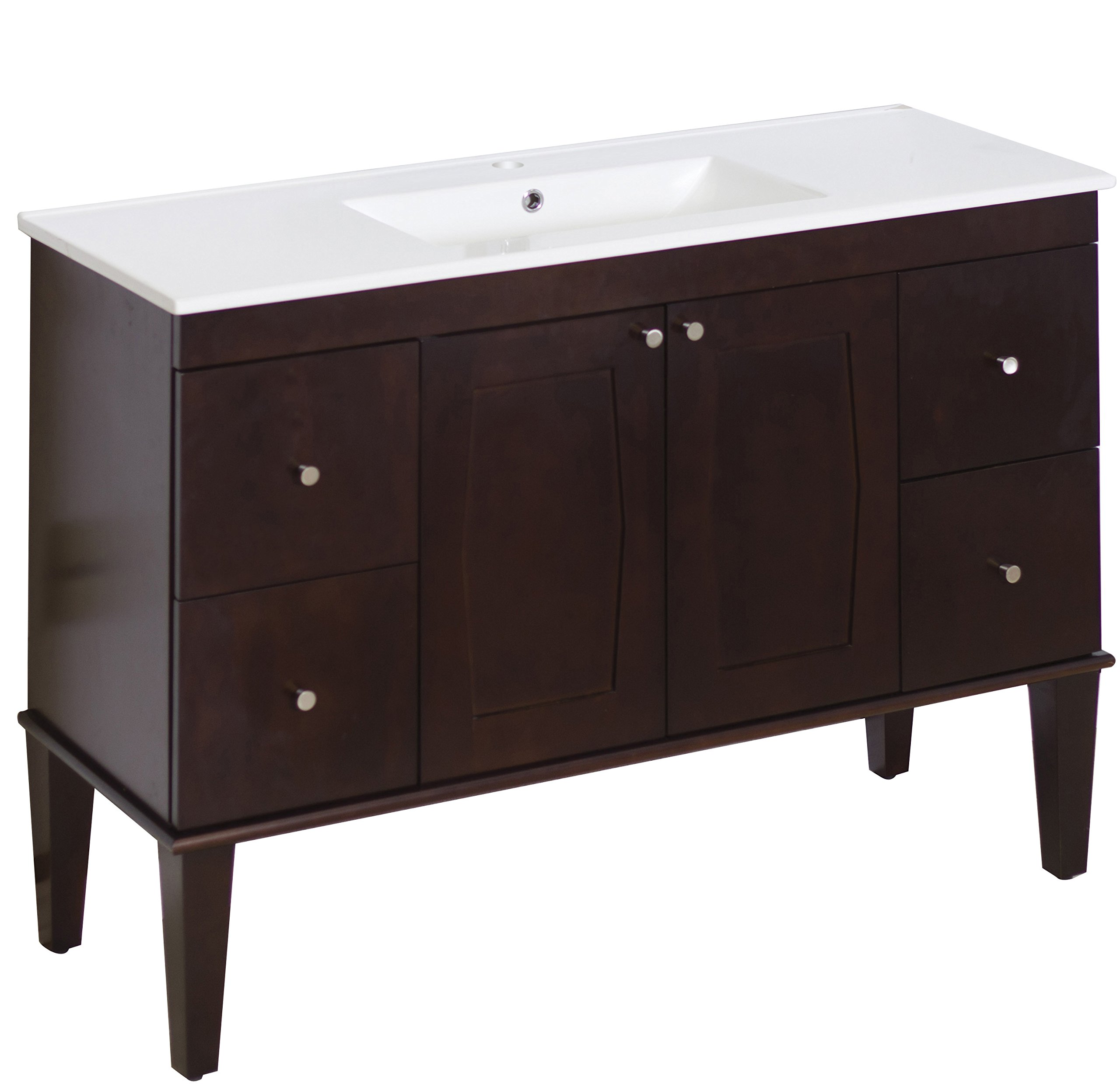 American Imaginations 517   48-Inch W X 18-Inch D Solid Wood Vanity with Soft-Close Doors and White Ceramic Top for Single Hole Faucet Installation
