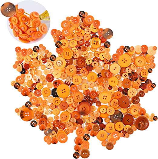 Keadic 1000Pcs Orange Buttons, Small and Large Crafts Buttons Bulk for DIY, Sewing, Decorations