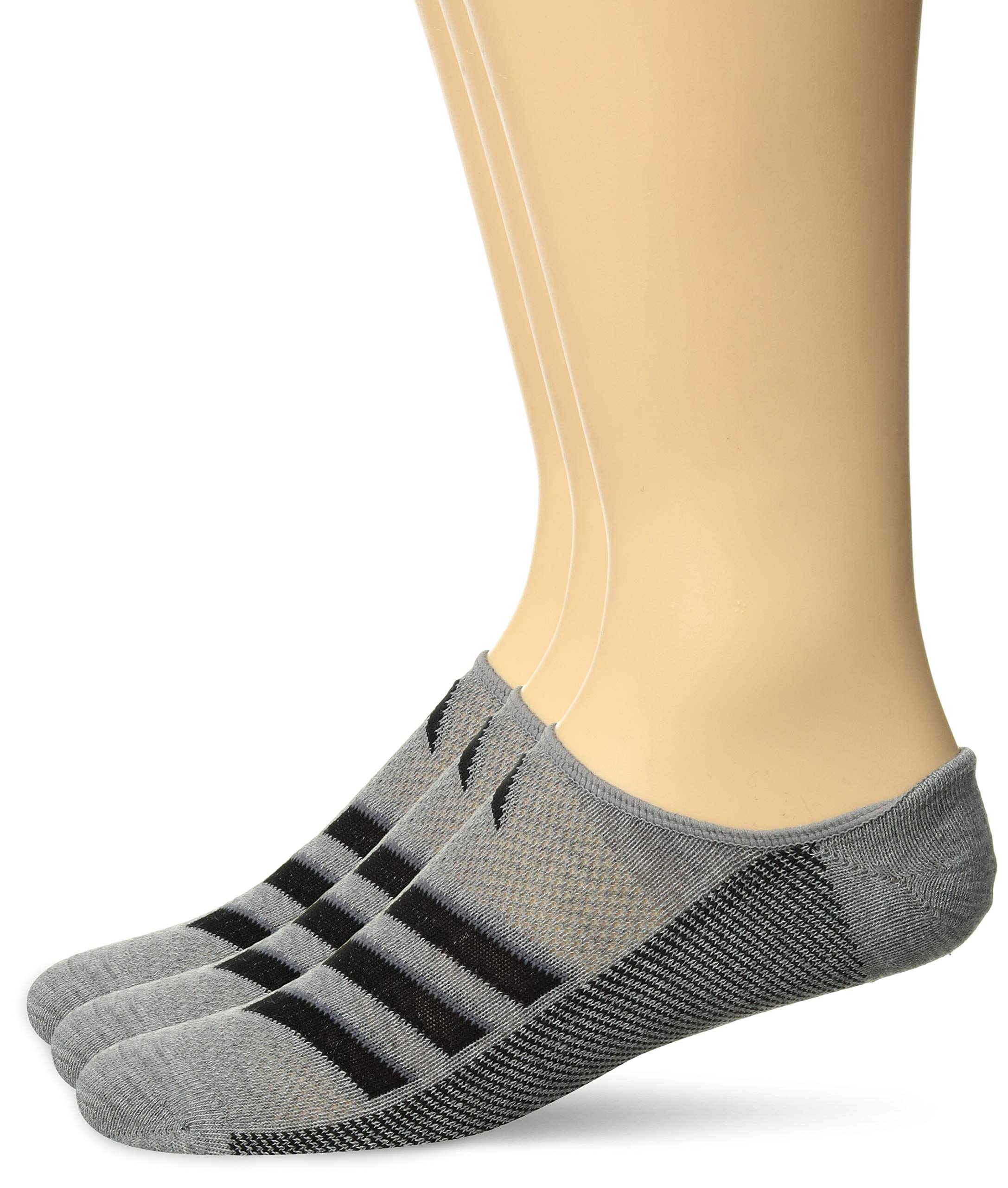 adidas Men's Climacool Superlite Super No Show Socks (3-Pack), Core Heather/Black/Onix, Size 6-12