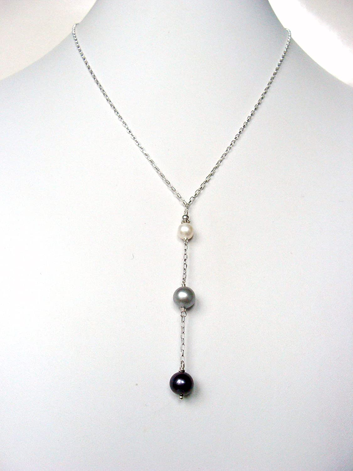 f6a98674dae4a Amazon.com: Lariat style pearl necklace, white silver black pearls ...