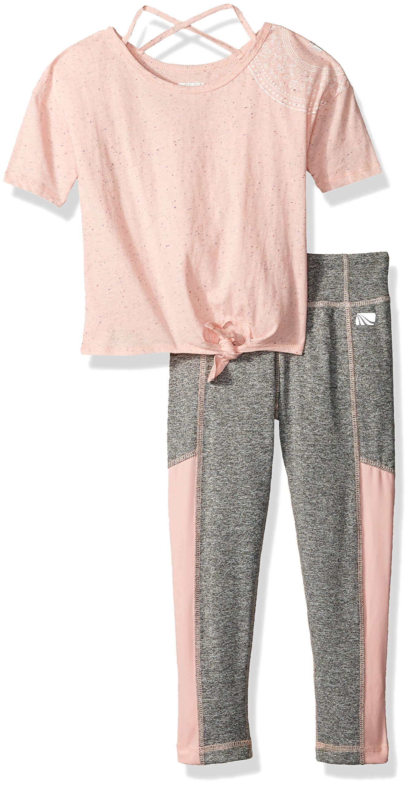 Marika Girls' Little 2 Piece Knit Top and Legging Set, blush-694, 5/6