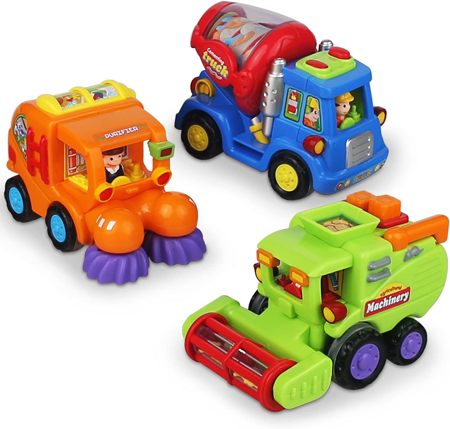 Push and Go Friction Powered Car Toys for Boys - Construction Vehicles Toys for Boys and Toddlers (Street Sweeper Truck, Cement Mixer Truck, Harvester Toy Truck)