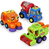Push and Go Friction Powered Car Toys for Boys - Construction Vehicles Toys for Boys and Toddlers (Street Sweeper Truck…
