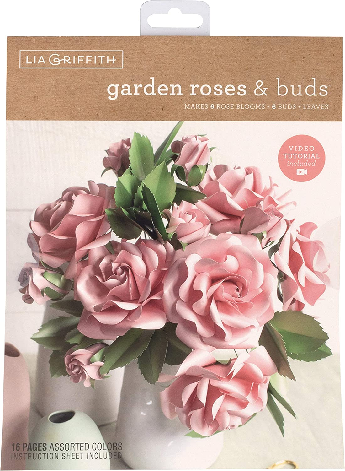 """Lia Griffith Frosted Paper Flowers Garden Roses & Buds, 8.5"""" x 11"""", Assorted Colors 16 Pages"""