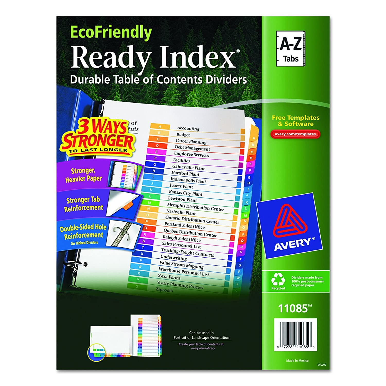 Avery EcoFriendly Ready Index Table of Contents Dividers, A-Z Tab Set (11085)
