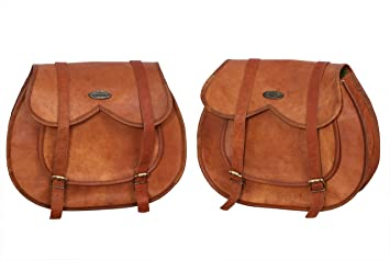 2 Bags Motorcycle Pouch Brown Leather Side All Saddlebags Saddle Panniers New