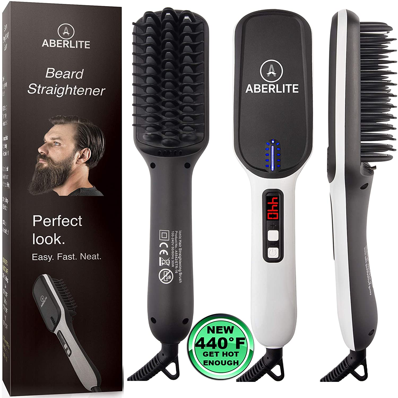 UPGRADED Aberlite MAX – Beard Straightener for Men – Beard Straightening Heat Brush Comb Ionic – 5 Heat Settings Up to 440F – For Home Travel