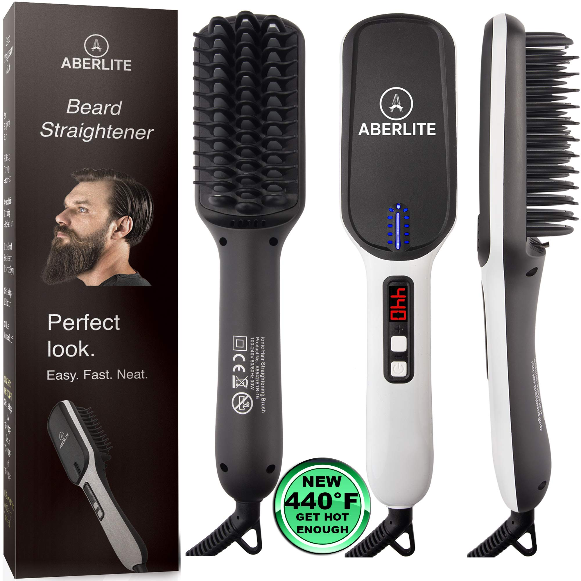 (UPGRADED) Aberlite Beard Straightener for Men - Beard Straightening Heat Brush Comb Ionic - 5 Heat Settings Up to 440F - For Home & Travel by Aberlite