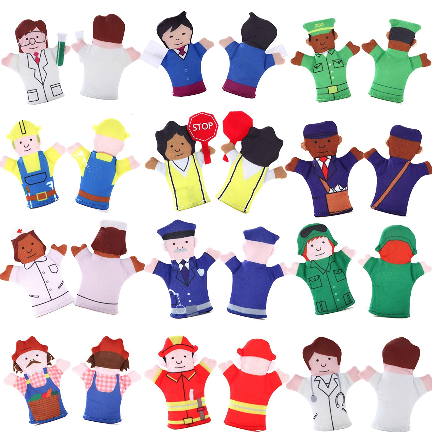 For Families Free Bonus E-Book Teach and Learn with a Variety of Neighborhood People Characters Kindergarten Play and ESL Limited Edition Happy Helpers Finger Puppets 12-Piece Set Children