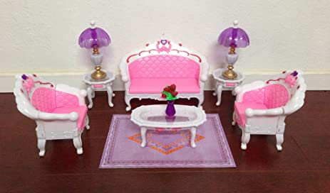 Amazon.com: Barbie Size Dollhouse Furniture- Living Room Grand ...