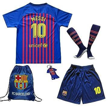 best service ac1a6 1fdbf MEMENTO 2018/2019 Barcelona #10 Lionel Messi Heim Kinder Fußball Trikot  Hose und Socken Kindergrößen