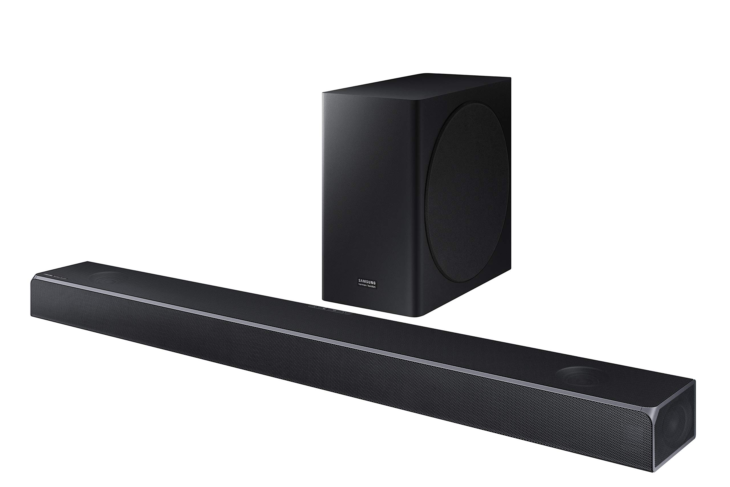 Samsung Harman Kardon 5.1.2 Dolby Atmos Soundbar HW-Q80R with Wireless Subwoofer, Adaptive Sound, Game Mode, 4K Pass-Through with HDR, Bluetooth & Alexa Compatible