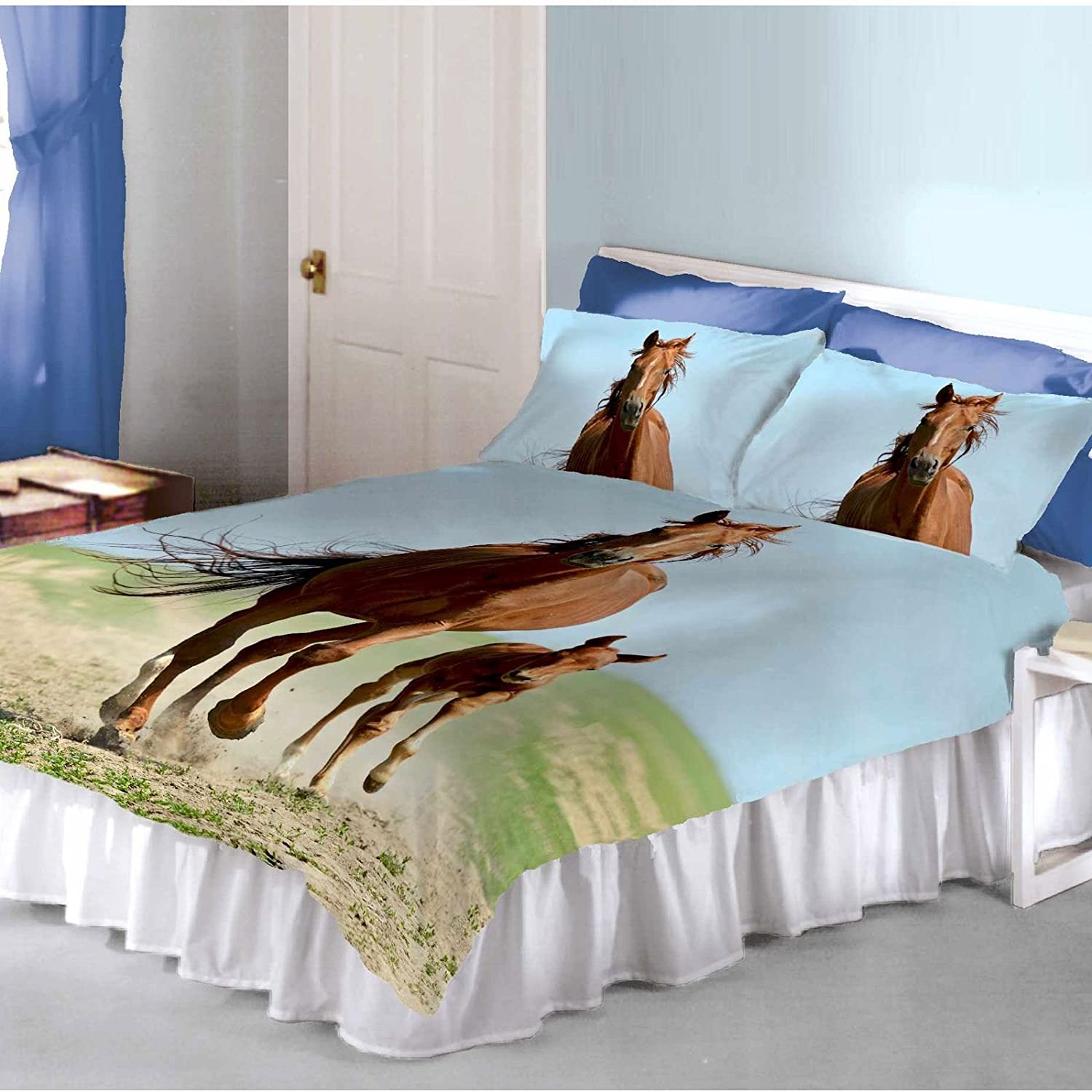 Follow My Lead Horse & Foal Double Duvet and Pillowcase Set Price Right Home