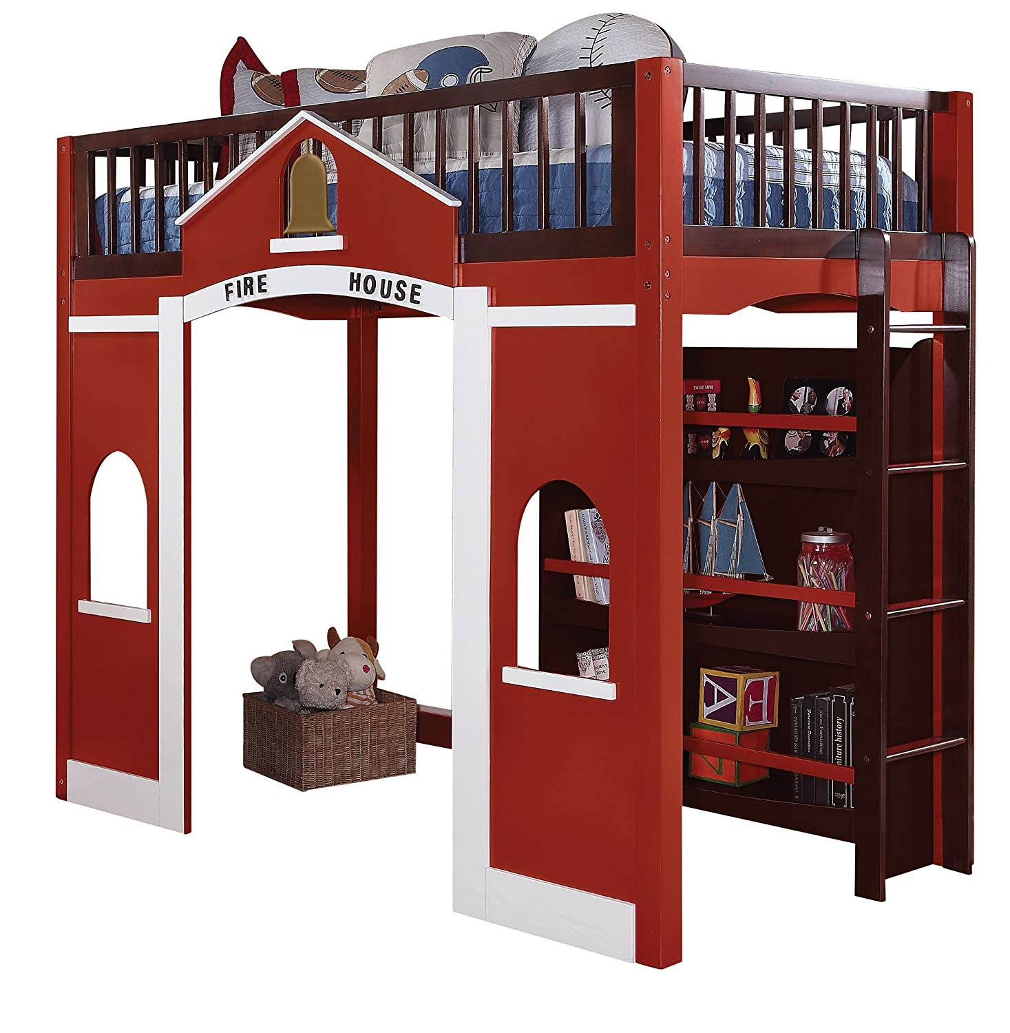 Amazoncom Acme 37085 Fola Loft Bed, Twin, Espresso And Red