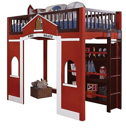 ACME 37085 Fola Loft Bed, Twin, Espresso And Red Finish