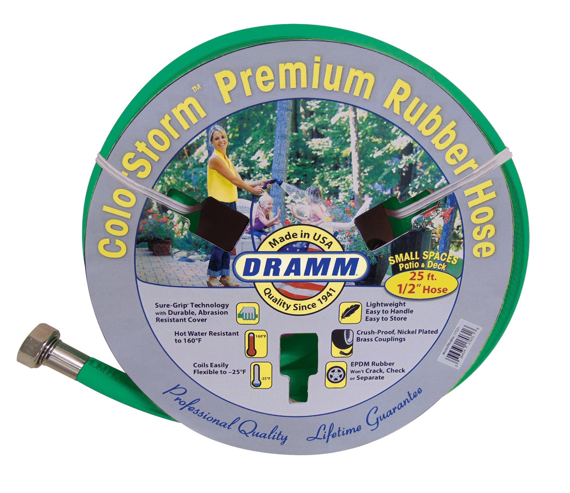 "Dramm 17034 ColorStorm Premium Rubber Garden Hose, 1/2"" x25', Green"