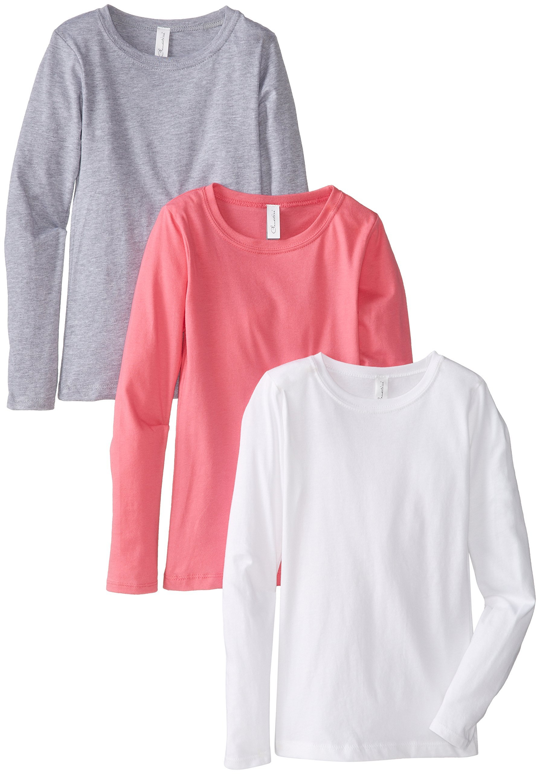 Clementine Big Girls' Everyday Long Sleeve Tee 3 Pack, White/Grey/Hot Pink,Large (10-12)