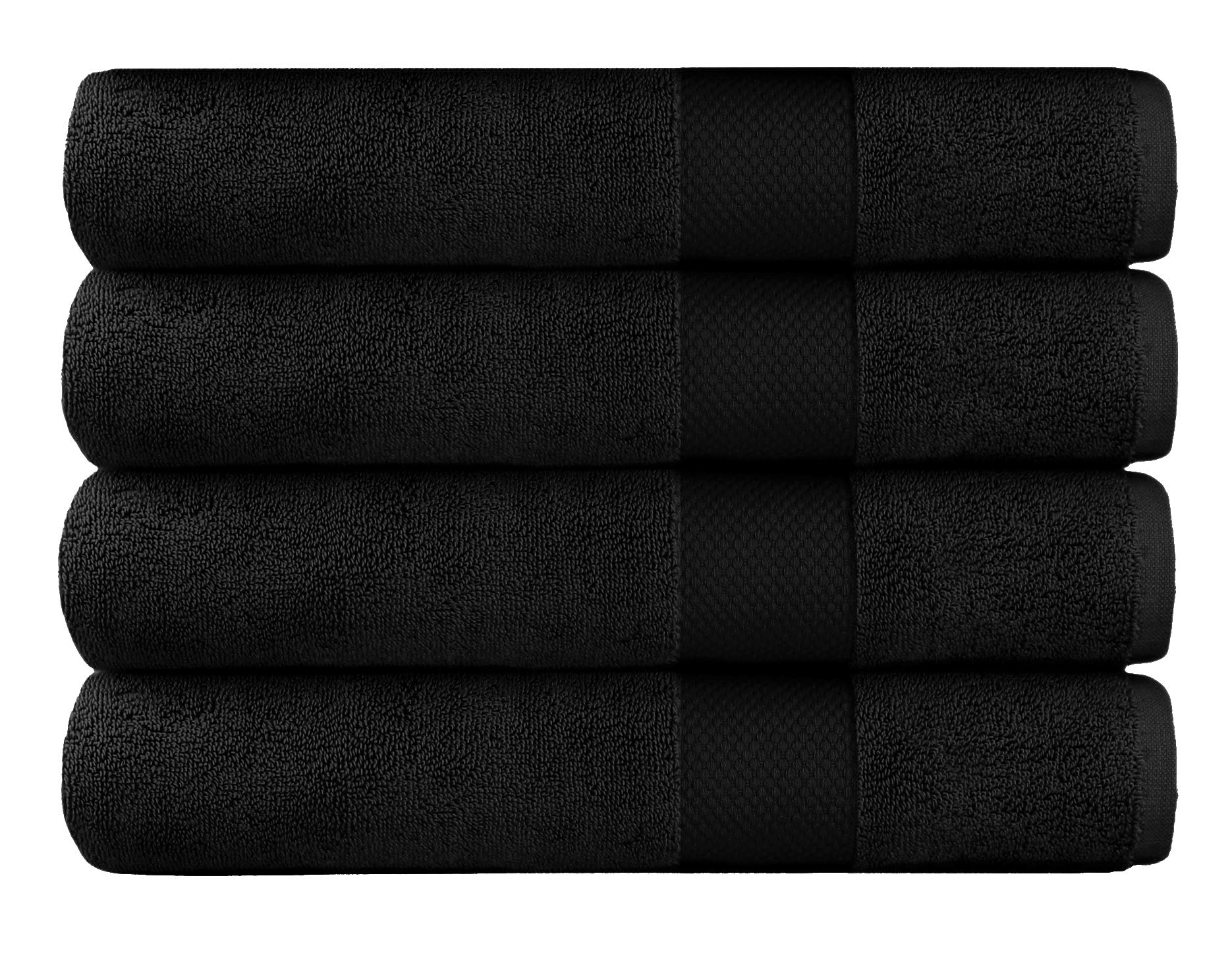 Cotton Craft - 4 Pack Luxuriously Oversized Hotel Bath Towel - Black - 100% Ringspun Cotton - 30x58 - Heavy Weight 700 Grams - 2 Ply Construction - Highly Absorbent - Easy Care Machine Wash