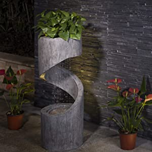 """Glitzhome Patio Fountain Waterfall Decorative Tiered Outdoor Water Fountain with LED Light Curved Waterfall Fountain with Stone Planter Patio Water Fountain Garden Waterfall, 31.3""""H"""