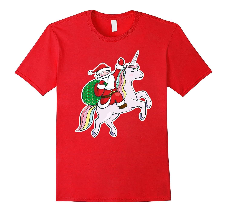 Awesome Santa Claus Riding A Cute Unicorn Christmas Shirt