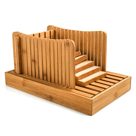 amazon com deppon bamboo wood bread slicer guide crumb catcher