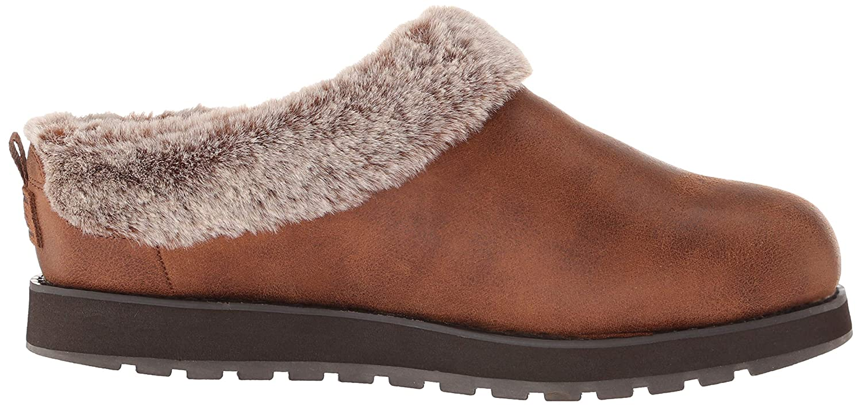 Skechers Damen Keepsakes - R E M Flache Hausschuhe (Brown Micro Leather/Faux Fur Line Brn)