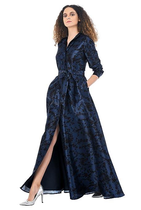 1950s Fashion History: Women's Clothing eShakti Womens Sash tie floral print dupioni maxi shirtdress $74.95 AT vintagedancer.com