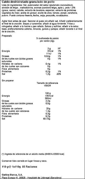 Gallina blanca avecrem caldo de pollo granulado(1x110g): Amazon.es: Alimentación y bebidas