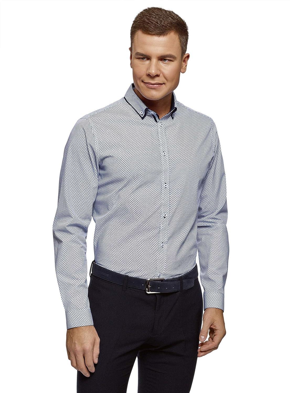 TALLA сm 37 / ES 37 / XXS. oodji Ultra Hombre Camisa de Algodón con Acabado en Contraste