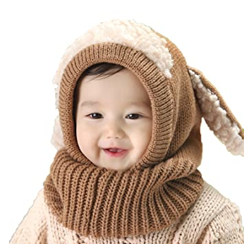 Elonglin Unisex Baby Toddler Kids Knitted Warm Woolen Coif Hood Scarf Caps  Hats With Puppy ears d53b2c3b177e