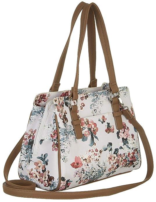 Amazon.com  Rosetti Kaycee Floral Print Satchel Handbag One Size White brown  multi  Shoes afcbe89d0a1fe