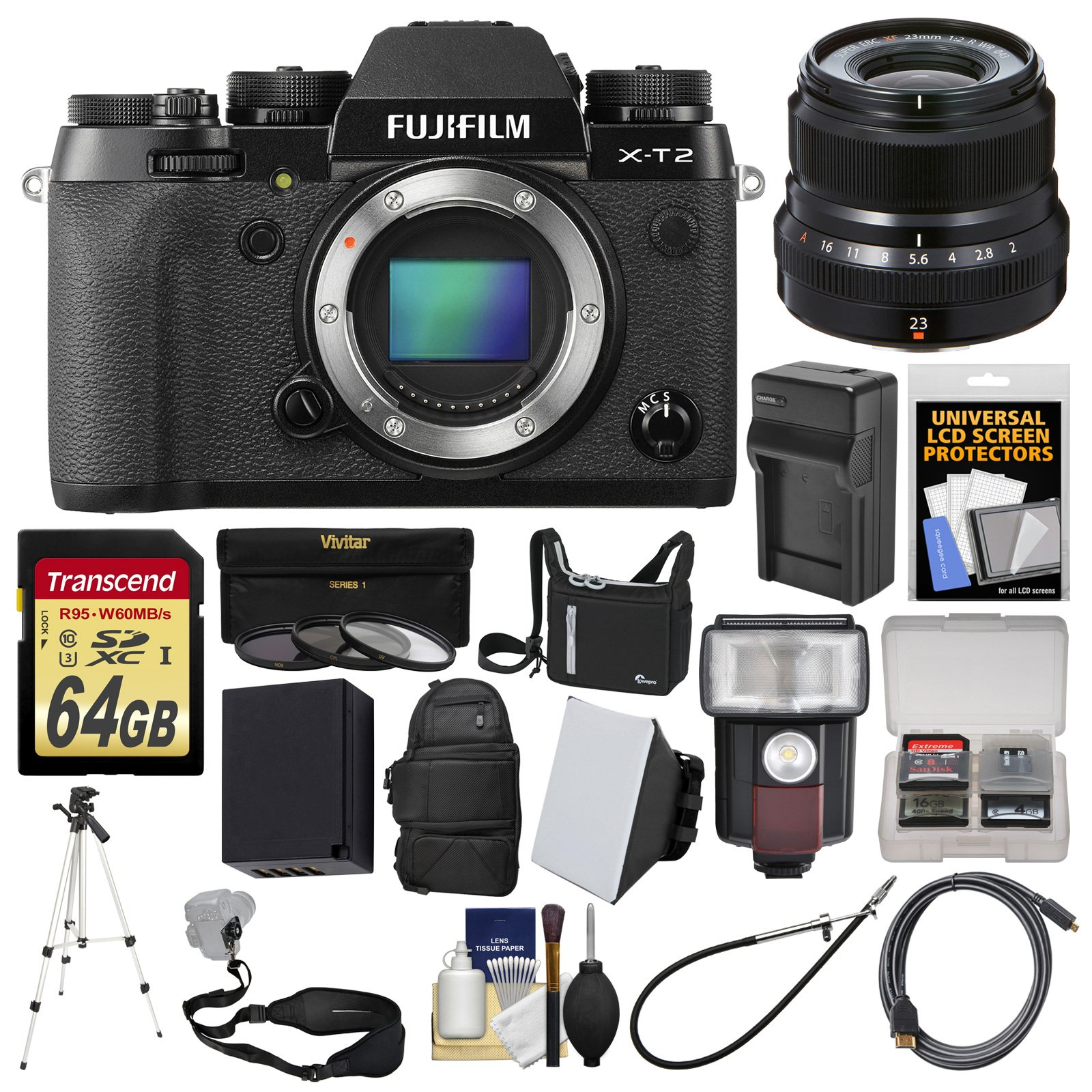 Fujifilm X-T2 4K Wi-Fi Digital Camera Body with 23mm f/2.0 Lens + 64GB Card + Case + Backpack + Flash + Battery + Kit