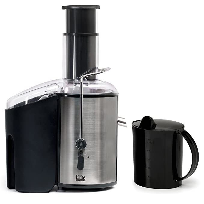 Elite Platinum EJX-9700 2-Speed Power Juicer Machine Big Mouth Whole-Fruit Juice Extractor, Stainless Steel
