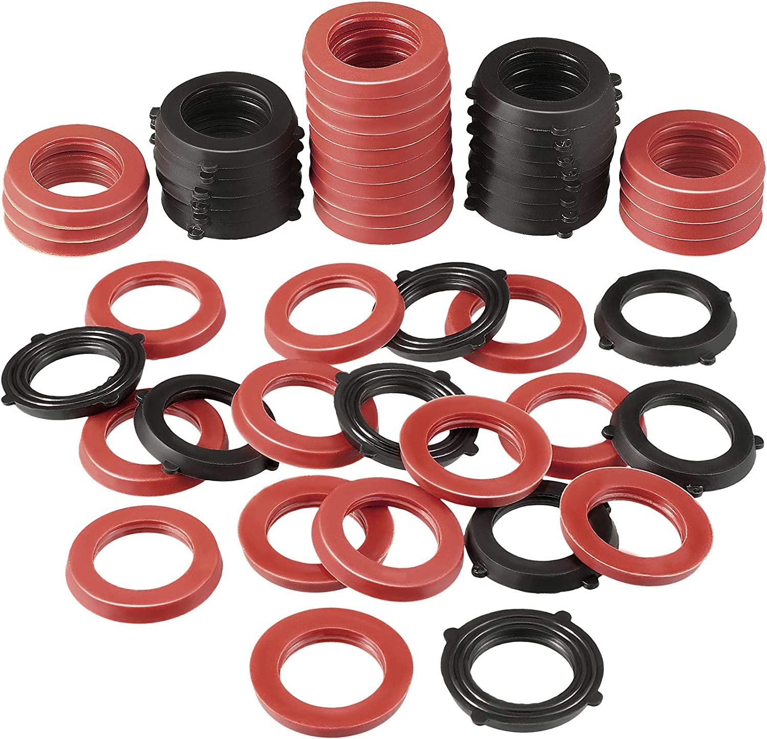Eccliy 100 Pieces Garden Hose Washer Rubber Washer Seals Water Hose Gaskets O-Shape Rings Leak Proof Fittings for Standard 3/4 Inch Garden Shower Hose and Water Faucet, 2 Colors
