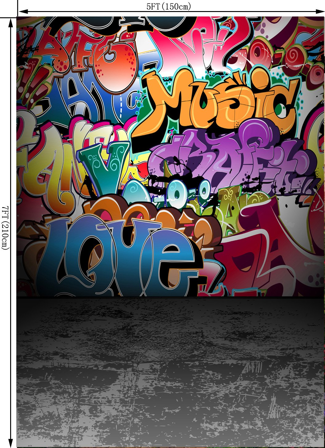 OUYIDA 5X7FT Wall Graffiti Style Pictorial Cloth Photography Background Computer-Printed Vinyl Backdrop TG01A by OUYIDA (Image #2)