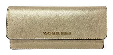 4a14d6a16175 Image Unavailable. Image not available for. Color: Michael Kors Jet Set  Travel Pale Gold Leather Flat Wallet