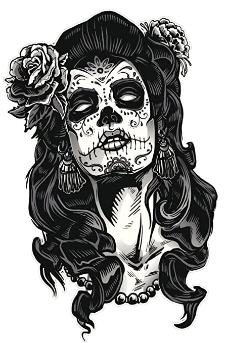 Dia De Los Muertos Mujer Con Calavera Y Rosa Negro Blanco Vinilo