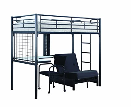 Coaster Fine Furniture 2209 Contemporary Metal Bunk Bed With  Futon/Desk/Chair, Black