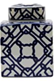 Large Square Blue and White Ceramic Ginger Jar with Lid